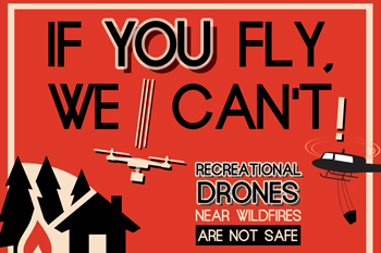 Drone illustration Dont fly drones near wildfires