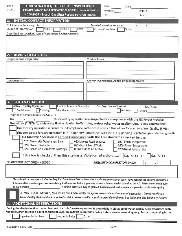 Water Quality Inspection form